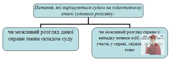 Б5478, Рис. 4 - Питання, які вирішуються судом на підготовчому етапі судового розгляду