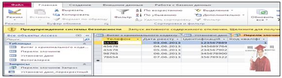 Б5717, Рис. 8 - База даних в Access Наркооблік, таблиця Перелік злочинів
